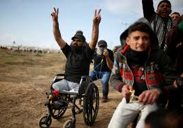 Palestinian wheelchair bound man